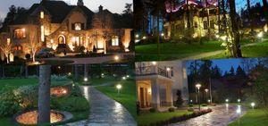 Освещение участка загородного дома - выбор светильников для входа, фасада, дорожек и гаража
