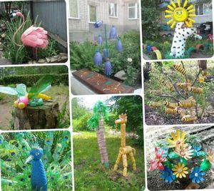 Поделки из пластиковых бутылок для дачи и сада с фото